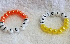 "18"" American Doll Felicity Apricot Beaded Stretchy Bracelet w/Alpha Beads Name"