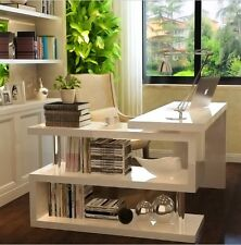 White Corner Computer Desk Writing Executive Space Saver Student Office Shelves