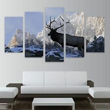 Large Framed Elk Snow Wildlife Nature  canvas print in 5 pieces