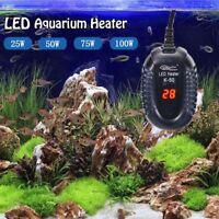 LED Aquarium Mini Submersible Fish Tank Adjustable Water Heater Thermostat Gauge