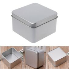 Small Metal Tin Silver Storage Box Case Organizer 9x9cm For Money Coin Candy Key