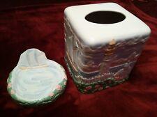 Hand painted Ceramic Lighthouse/ Sailboats Ceramic Kleenex Cover & Soap Dish Set