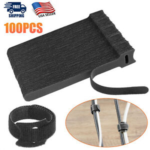 100 X Cable Straps Black Wire Cord Hook Loop Ties Reusable Fastening Organizer
