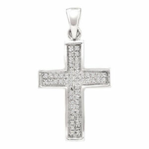 10k White Gold Womens Round Diamond Cross Faith Pendant 1/6 Cttw