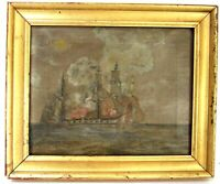 ANTIQUE 18 century MARINE SCENE WITH BOATS OIL PAINTING ON CANVAS