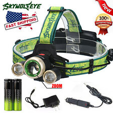ZOOM 15000Lm Headlamp CREE XM-L 3 x T6 LED Headlight 18650 Light Battery Charger