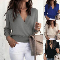 Women's V Neck Long Sleeve Jumper Knitted Pullover Sweater Casual Tops