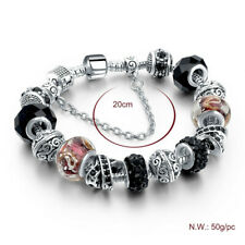 Bracelet with Charms Girl Women Crystal Beads Pandora Type Jewelry Black