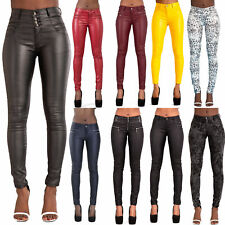 WOMEN LEATHER LOOK LEGGINGS BLACK WET TROUSERS SEXY JEANS SIZE 6-20