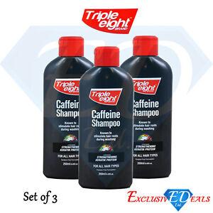 3 x Triple Eight Caffeine Shampoo Keratin Protein Hair Growth - 250ml Bottle