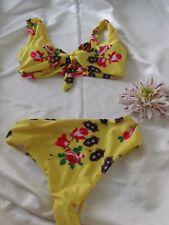 Unbranded Yellow Mix *Roses* Padded Front Tie Bikini Brief Set Medium