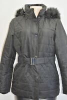 Designer Black Quilted Puffer jacket With Hoodie Size Small On Sale