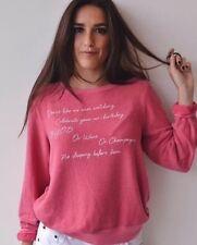 NWT Wildfox Just Because List Dance Laugh Wine BYOB BBJ Sweater Sweatshirt S ��