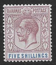 Bahamas 1924 5/- Dull Purple & Blue SG 124 (Mint)