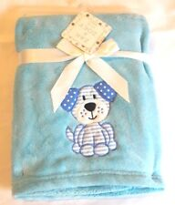 PERSONALIZED Monogrammed Minky Pet Blanket Blue with Puppy Applique