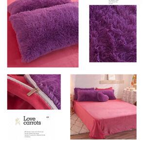 Plush Fluffy Comforter Duvet Quilt Cover Pillow Shams Bed Sheet Bedding Set 4Pcs