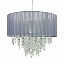 Grey Jewelled Easy Fit Ceiling Light Shade Pendant 30cm Drum Lightshade