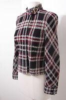 ST. JOHN Marie Gray Brown Burgundy White Knit Zip Front Jacket Snap Collar 0