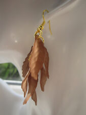 Drop / Dangle Earrings - Brown Autumn Leaves Cluster - Gold Plated