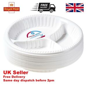 """Plates Plastic 10"""" Disposable 3 Compartment Plates Party Catering Round White"""