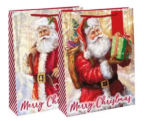 Traditional Christmas Santa with Sack Scene Extra Large Christmas Gift Bag