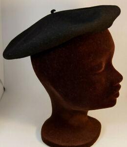 BASQUE Vintage Black Virgin Wool Beret M-L Unisex Made in France Size 59 / 10