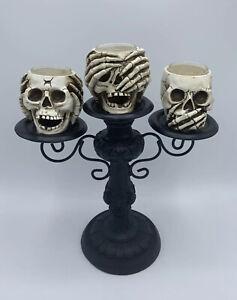 Resin Yankee Candle Halloween Skeleton Crew Triple Skull T/L Candelabra *Retired