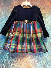 Rose Cottage Blue Velour Christmas Holiday Party Toddler Dress Size 24 Months