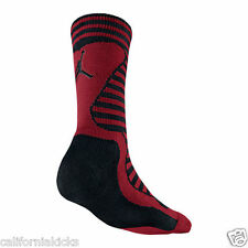 NIKE Air Jordan Retro Inspired Crew Socks sz L Large (8-12) Black Gym Red New