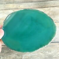 "Extra Large Green Agate Slice: Approx 5.15"" Long Crystal Stone Geode Quartz"