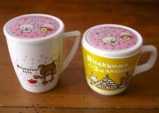 Pair San-X Rilakkuma Japanese Tokyo Cafe 3rd Anniversary Coffee Tea Mugs w/ Tops