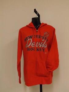New Majestic New Jersey Devils Womens M Medium Hoodie Full-Zip-Jacket 82UU