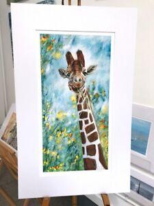 'Prudence' Giraffe mounted print, 50 x 80cm painting by Julia Pankhurst,