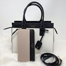 New Kate Spade  Cameron Medium Satchel Leather White Continetal wallet SET