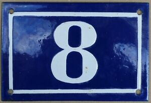 Old blue French house number 8 door gate plate plaque enamel sign 1950s NOS