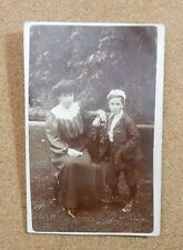 Edwardian Mother and Child In Garden  unposted . RPPc xc1