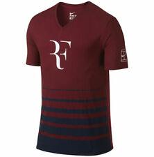 Nike Rf Ss V-Neck Shirt Tennis Roger Federer Athletic Men L Team Red 777865-677