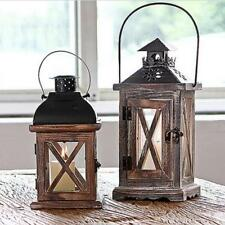 Ancient Retro Wood Tealight Candle Holder RUSTIC Wedding Hanging Ornament #2