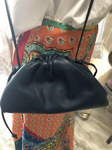 New Authentic Bottega Veneta Mini Pouch Clutch Small Cross Body Blue Gray W Box