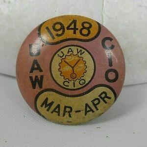 Vintage UAW CIO Union Dues Hat Lapel Pin 1948 Mar-April