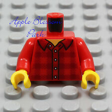 NEW Lego RED PLAID SHIRT MINIFIG TORSO - Boy Girl Button Jacket Lumberjack Top