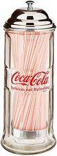 Coca Cola Straw Dispenser Glass Holder Jar Vintage Coke Bottle Soda Drinking
