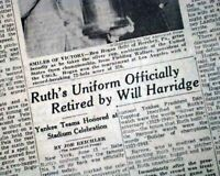 BABE RUTH DAY at Yankee Stadium Farewell # 3 Jersey Retired 1948 Old Newspaper