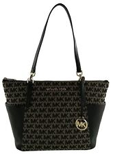 Michael Kors Bedford Shoulder Bag Tote Beige Black Logo Jacquard Canvas Medium