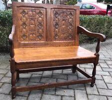 Antique Vintage Oak Deacon Bench