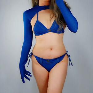 "DENIM GLOVES Blue Jeans Fabric 15"" 38cm Long Balloon Puff Big Sleeves Large TECH"