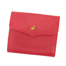 Nina Ricci Wallet Purse Folding wallet Red Gold Woman Authentic Used F1156