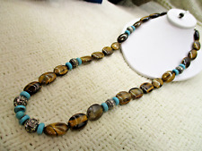 GENUINE GEMSTONE TIGER EYE BLUE TURQUOISE HOWLITE NECKLACE HIGH END JEWELRY VTG