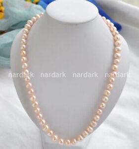 """Real 8-9mm Natural South Sea Pink Freshwater Cultured Pearl Necklace 18-36"""" AAA"""