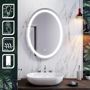Modern LED Bathroom Oval Mirror Touch Anti-fog Backlit Illuminated Demister IP44